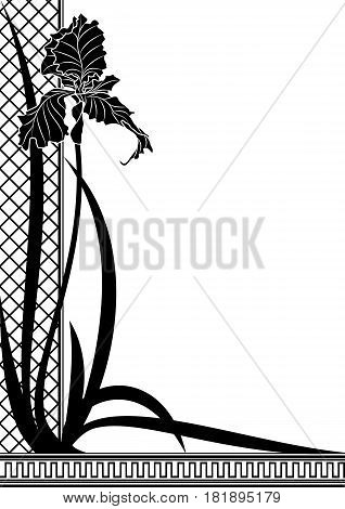 Vector border with flower of iris in black and white colors