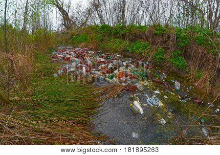 Environmental contamination. Illegal junk dump.  April 16, 2017.Near Kiev, Ukraine