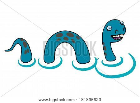 Cartoon style Loch Ness monster on a white background