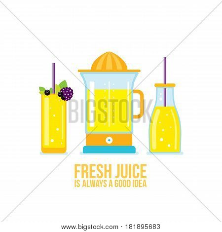 Juicer Glass of juice Smoothie bottle Organic fresh summer drinks Vector illustration