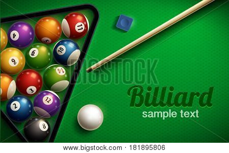 vector illustration of billiard table top view balls sport theme