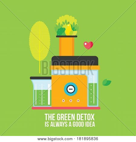 Making fresh organic juice and smoothie Juicer Mixer Kitchen appliance Vector illustration