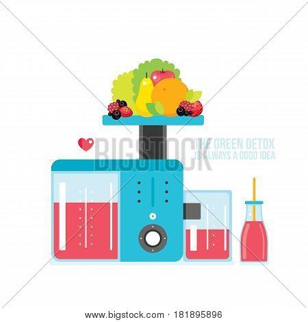 Making fresh healthy organic smoothie juice Kitchen appliance Juicer Blender Vector illustration