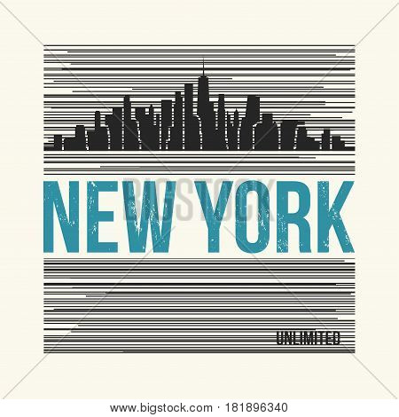 New York City graphic t-shirt design tee print typography emblem. Vector illustration.