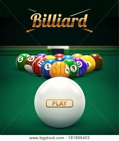 vector illustration of billiard table front view balls sport theme