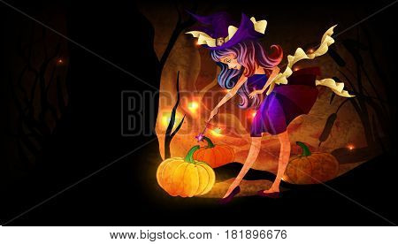 Little witch with a pumpkin in the night forest