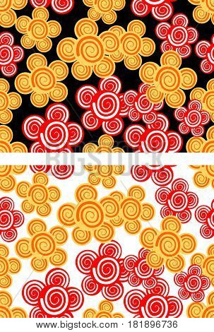 Seamless background with red and yellow flowers in two color variants