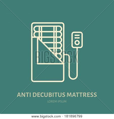 Anti decubitus, pressure ulcers mattress icon, line logo. Flat sign for ergonomic healthy sleeping.
