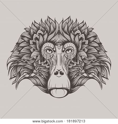 Baboon monkey face doodle isolated on a grey background