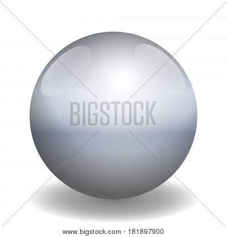 Iron ball - illustration of a single metallic glossy gray ball with reflections of light and shadow - three-dimensional isolated vector on white background.