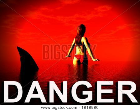 An image of a women who is in danger from a shark. poster