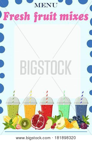 Color vector image of menu page with non-alcoholic cocktails in cups based on fruit mixes. Price list. Mocktail.