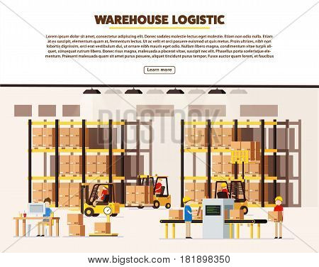 vector illustration of warehouse logistic background isometric objects car human forklift boxes workers vector eps 10 set