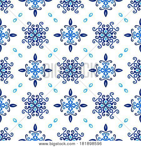 Blue background. Stylized flower seamless pattern. Square boho design element. Vector illustration. Wallpaper print, interior textile decoration. Luxury indigo fabric graphic. Floral weave ornament.
