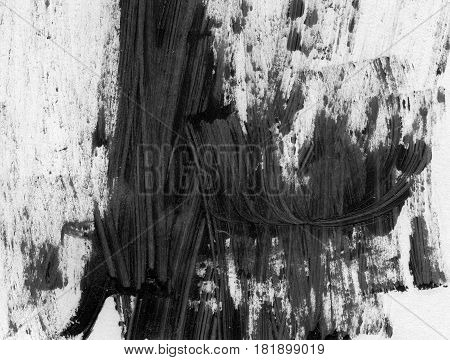 VERY HIGHT resolution. Abstract ink background. Marble style. Black and white paint stroke texture. Macro image of spackling paste. Smear of painterly plaster on paper