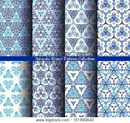 Blue backgrounds. Stylized flower seamless patterns. Square boho design element. Vector illustration. Wallpaper print, interior textile decoration. Luxury indigo fabric graphic. Floral weave ornament.