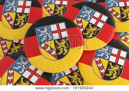 German States Badges: Pile of Saarland Flag Buttons 3d illustration
