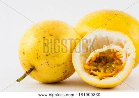 Passion Fruit (Passiflora edulis fo. Flavicarpa) isolated in white background