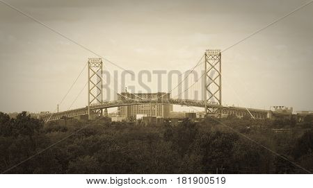 Ambassador Bridge International Border Crossing as seen from Windsor, Ontario