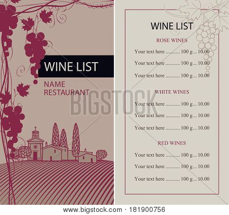 vector wine list with grape vine bunch of grapes and the price list on the background a rural landscape with vineyard