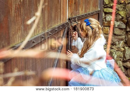 Side view of an little beautiful girl with long wavy hair in a blue silk dress in the scenery of Alice in Wonderland looking into the keyhole of the gate.