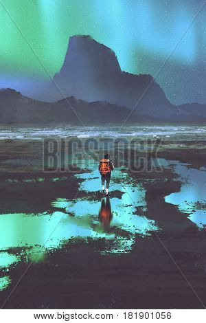 night scenery of hiker with backpack looking at mountains and colorful light in the skym illustration painting