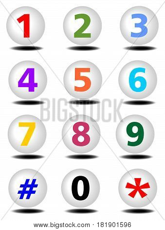 Artistic numbers on the balls with shadow.Phone buttons set with colored numbers and shadows