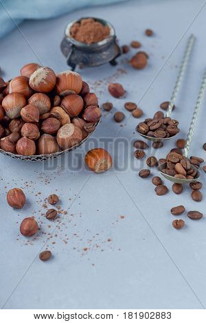 Hazelnut coffee beans and cocoa powder in light blue background. Ingredients for cooking homemade chocolate sweets. Confectionery and sweets concept.