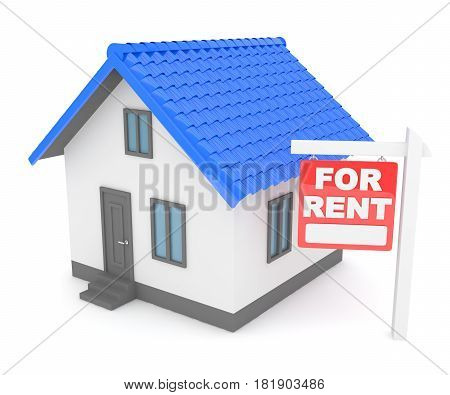 Miniature model of house real estate for sale on white background. Agency sale. 3D rendering.
