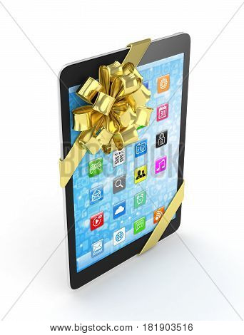 Black tablet with golden bow and icons. 3D rendering.
