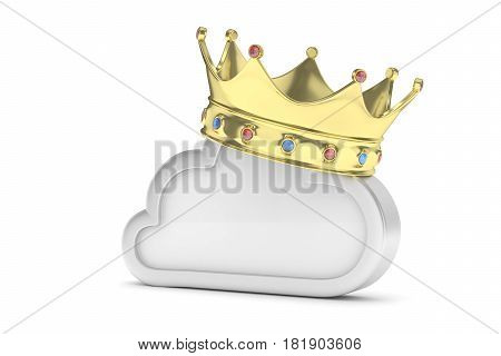 Cloud with golden crown on white background. Model of best network, database, cloud storage. Royal technology. 3D rendering.