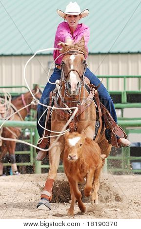 Cowgirl Roping A Calf
