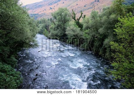 turbulent waters of Zeta River, Montenegro