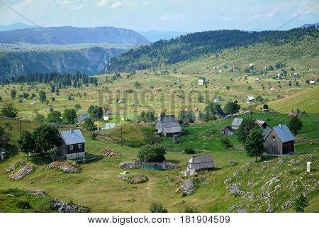 village Mala Crna Gora in highland of Durmitor National Park, Montenegro