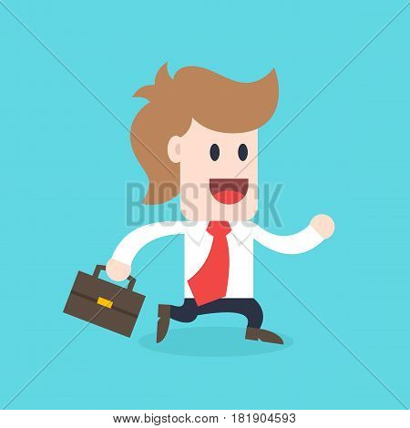Businessman cartoon character - male wearing shirt and tie running vector illustration