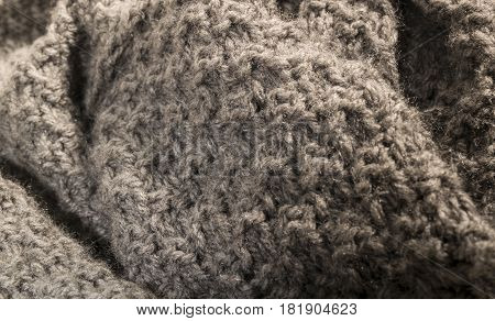 Detailed Warm Gray Cotton Fabric Background.