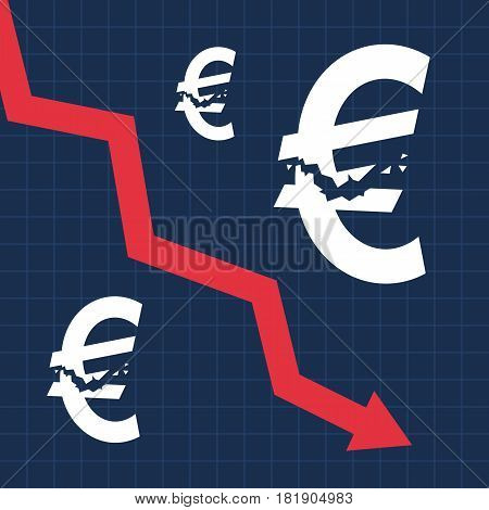 Crashed euro sign and falling graph, financial crisis, business illustration vector