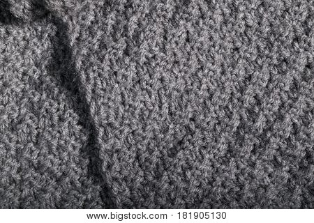 Isolated Crumpled Wool Fabric Textile.