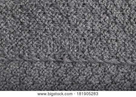 Perspective View Of Knitted Gray Wool Fabric, Textile Background.