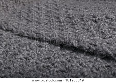 Close Up Of Knitted Grey Wool Fabric