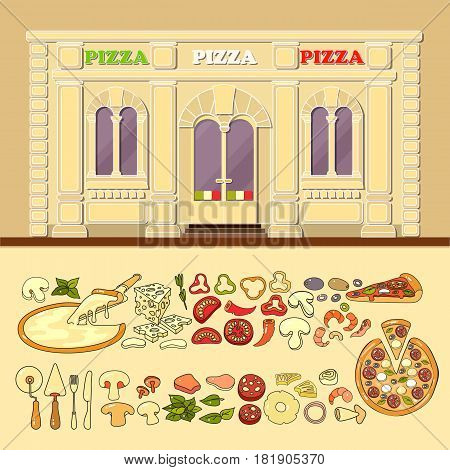 Pizzeria and set of cute various pizza ingredient icons. Flat design vector illustration of small business concept. Stylish pizza boutique. Store design template. Can be used street cafe menu, bar, restaurant, poster, banner.