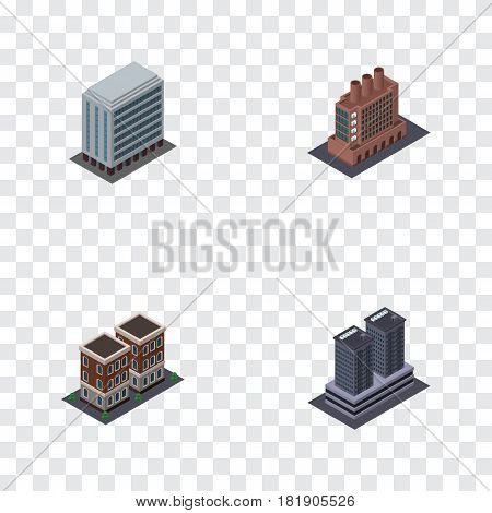 Isometric Architecture Set Of House, Office, Industry And Other Vector Objects. Also Includes Home, Firm, House Elements.