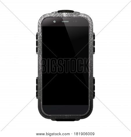 Smartphone protected isolated on white background. Mobile or cell phone with protective case. Vector illustration.