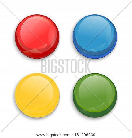 Set of blank colored glossy button isolated on white background. Vector illustration.