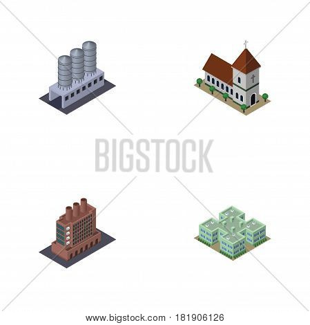 Isometric Architecture Set Of Clinic, Water Storage, Chapel And Other Vector Objects. Also Includes Warehouse, Chapel, Storage Elements.