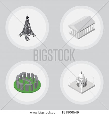 Isometric Architecture Set Of Paris, England, Athens Vector Objects. Also Includes Stonehenge, Taj, Acropolis Elements.