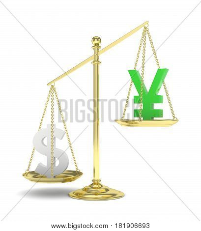 Isolated old fashioned pan scale with dollar and yuan, yen on white background. American and chinese and japanese currency. Dollar is heavier. Silver usd, green yuan. 3D rendering.