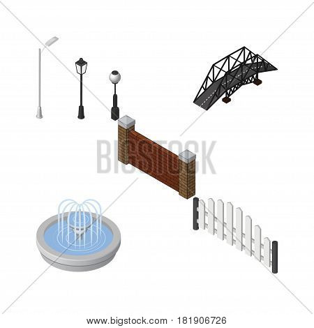 Isometric Urban Set Of Barrier, Expressway, Barricade And Other Vector Objects. Also Includes Brick, Fountain, Water Elements.