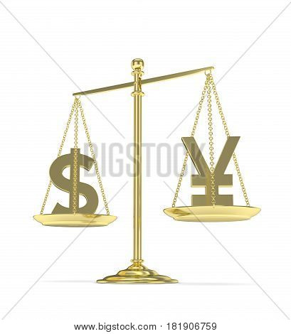 Isolated old fashioned pan scale with dollar and yuan, yen on white background. American and chinese and japanese currency. Currency equality. 3D rendering.