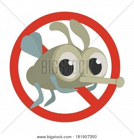No Bugs or No mosquitoes sign made in a cartoon style with a funny insect. Antibug or insect exterminator symbol.